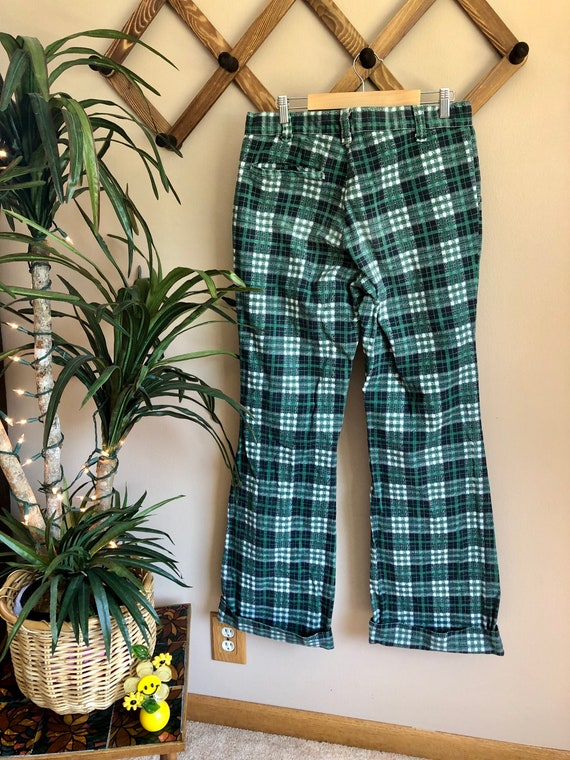 1970s Green Toned Plaid Bell Bottom Pants - image 3