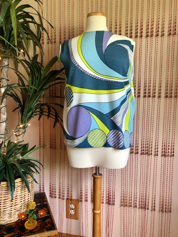 1960s Colorful Psychedelic Mod Sleeveless Top