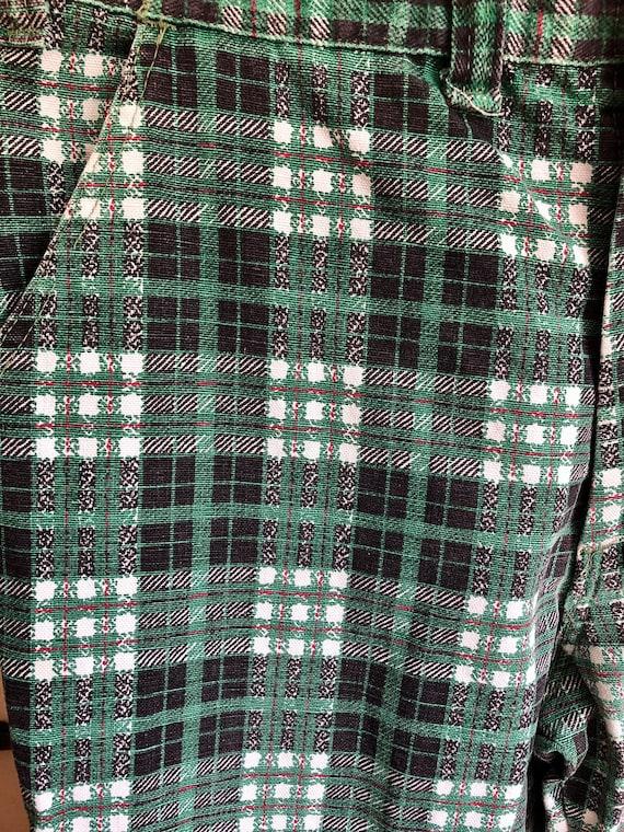 1970s Green Toned Plaid Bell Bottom Pants - image 2