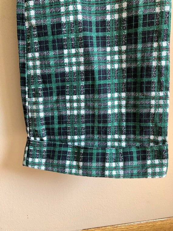 1970s Green Toned Plaid Bell Bottom Pants - image 5
