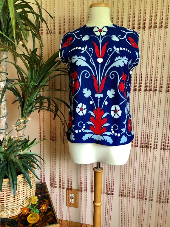 1960s Psychedelic Floral Print Red, White, & Blue