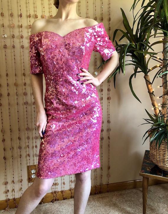 1980s Barbie Pink Iridescent Sequin Party Dress