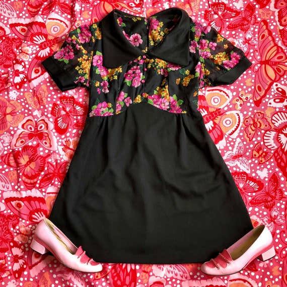1970s Black Floral Mini Dress
