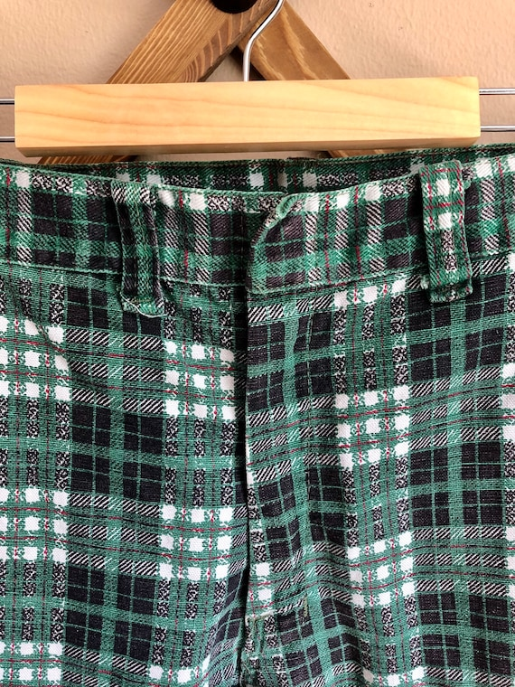 1970s Green Toned Plaid Bell Bottom Pants - image 6
