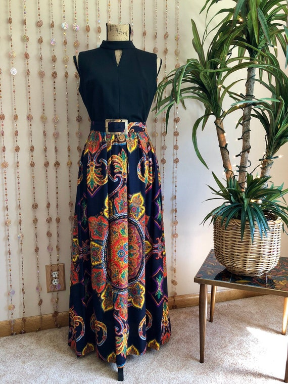 1970s Psychedelic Print Hippie Maxi Dress