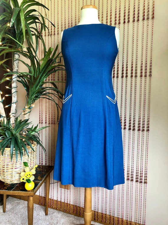 1960s Navy Blue Cotton Dress With Pockets