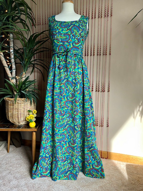 1970s Paisley & Floral Psychedelic Print Maxi Dres