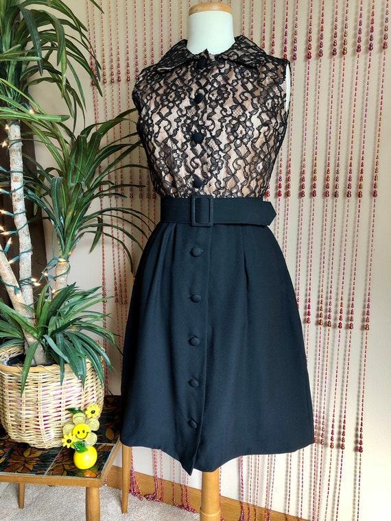1960s Black Lace Dress With Belt