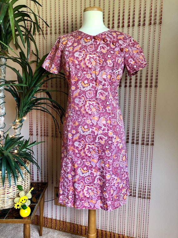 1960s Groovy Pink Floral Print Cotton Dress