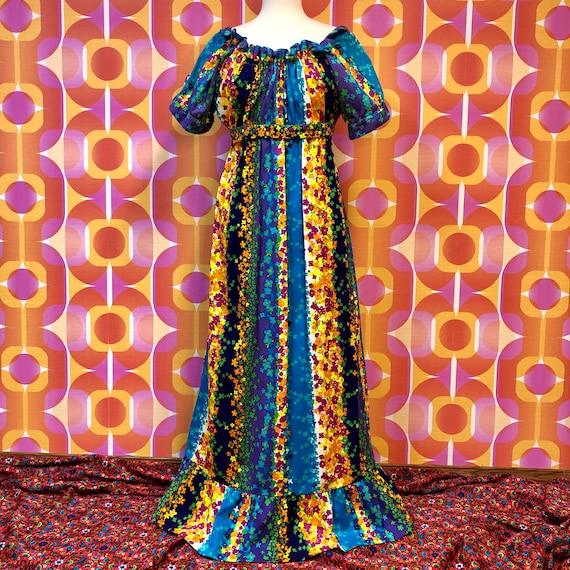 1970s Colorful Floral Barkcloth Hawaiian Maxi Dres