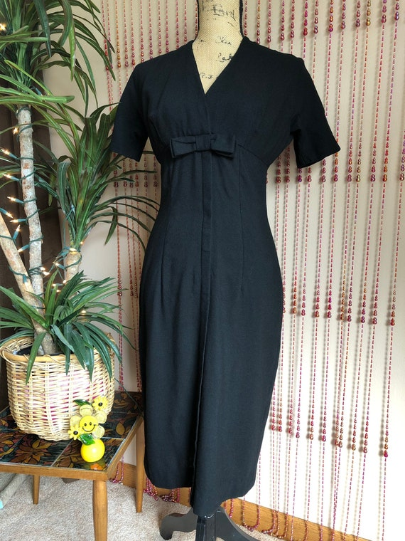 Early 1950s Black Pencil Dress With Bow Detail