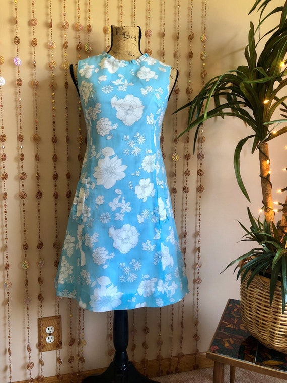 1960s Reversible Mod Dress Floral & Striped Print