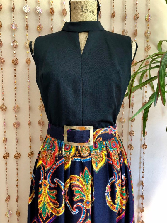 1970s Psychedelic Print Hippie Maxi Dress - image 2