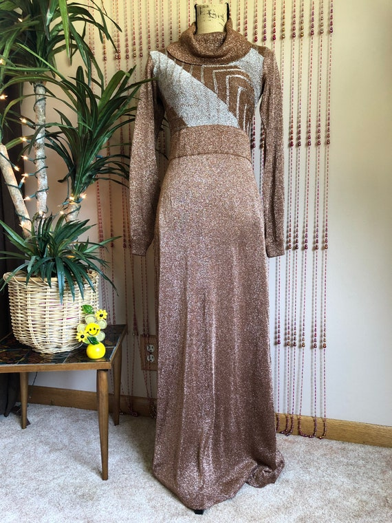 1970s Wenjilli Dress Gorgeous Copper Lurex Maxi Dr