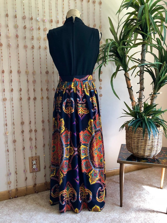 1970s Psychedelic Print Hippie Maxi Dress - image 5