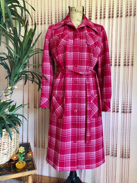 1960s Deadstock Pink Mod Plaid Button Up Dress