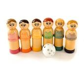 Wooden Skittles By Roger Copple Hero Manufacturing - Vintage Wooden Ballerina Skittles Game
