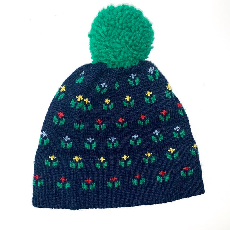 55abba9b05327 Vintage Wool Ski Hat - Vintage Winter Hat - Vintage Knit Hat - Green  Mountain Knitters Winter Hat