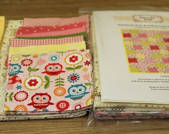 Baby Quilt Kit: Patchwork Pink & Yellow Owls