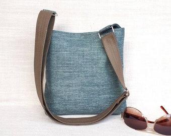 Blue Ocean upholstery fabric hobo slouch bucket shoulder crossbody handbag  bag purse for ladies 6ebe182f7f8f3