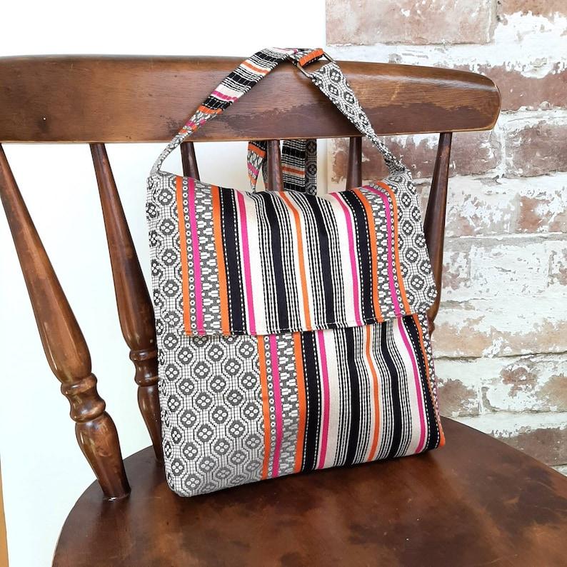 Stripes satchel flap messenger cross body crossbody shoulder handbag bag purse made from upholstery fabric