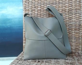 Vegan PU leather Sage green grey flap messenger satchel cross body crossbody shoulder  handbag bag purse manbag