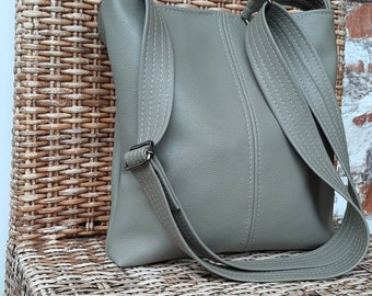 Vegan PU leather Sage green grey vegan shoulder crossbody hobo slouch bucket bag handbag purse
