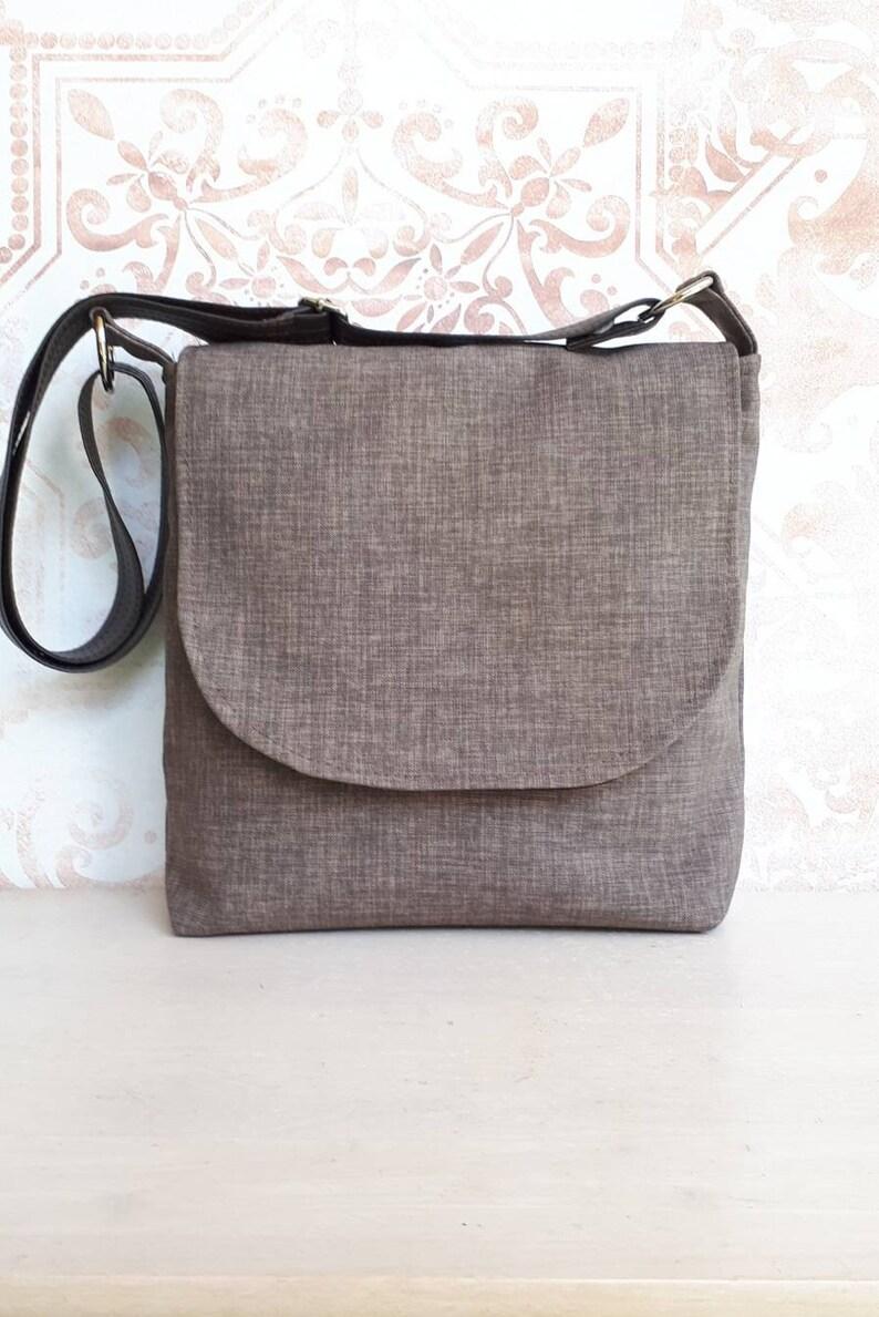 c1ee530051e Mocha Brown upholstery fabric vegan flap messenger satchel