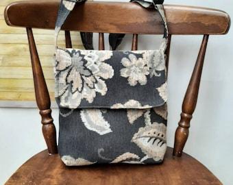 Grey Floral satchel flap messenger cross body crossbody shoulder handbag bag purse made from upholstery fabric