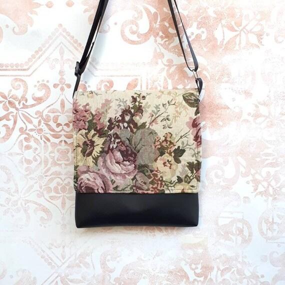 SALE Vintage floral rose tapestry feature fabric flap vegan faux leather  messenger cross body crossbody shoulder black bag d24835dcb2de5