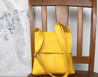 Vegan PU leather Buttercup Yellow flap messenger satchel cross body crossbody shoulder  handbag bag purse manbag