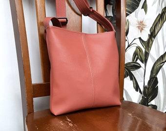 PU leather Deep Blush, pink, rose, handbag, shoulder bag/ crossbody / hobo / slouch bucket bag