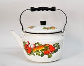 white big Large vegetables teapot metallic teapot vintage enamel soviet pot vintage tea stove kettle french vintage teapots tea pot