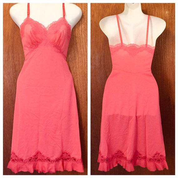 Vintage Coral Vanity Fair Dress Slip Pleated Chiff