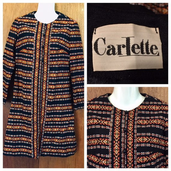 Vintage 60s Carlette Collarless Woven Tapestry Lon