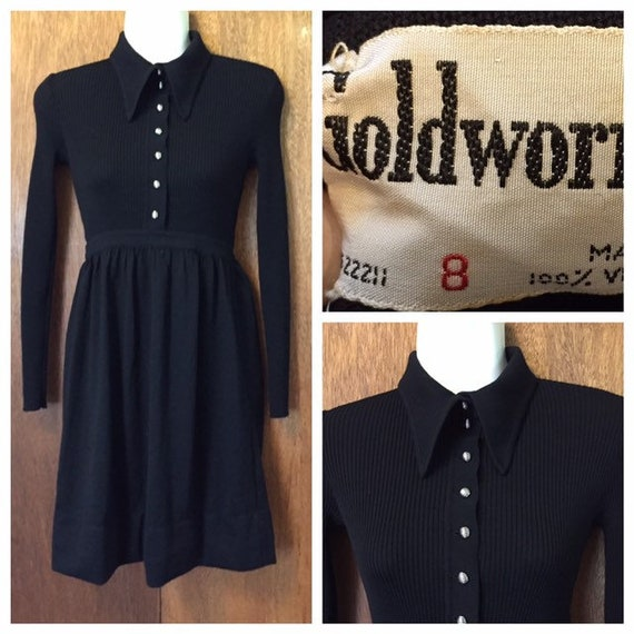 Designer Vintage 60s Goldworm Wool Knit Mini Dress