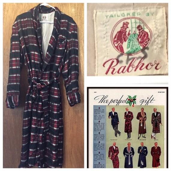 Vintage 30s Rabhor Silk Plaid Belted Robe M