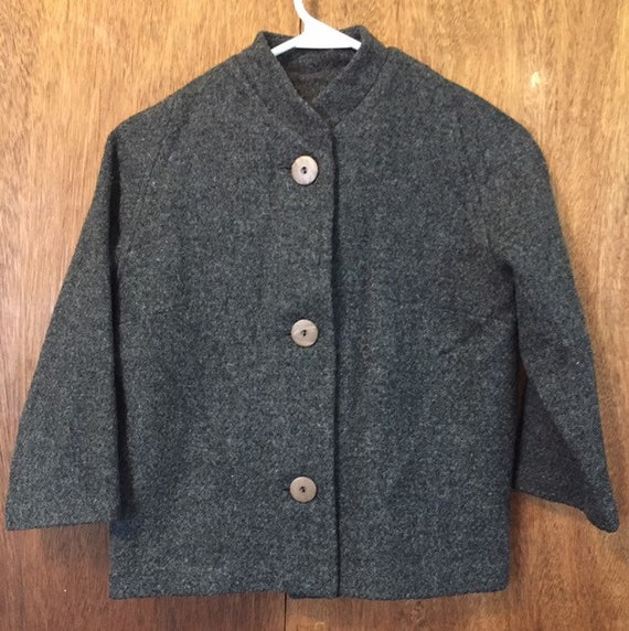 Vintage 40s 50s Dolman Sleeve Gray Wool Jacket by