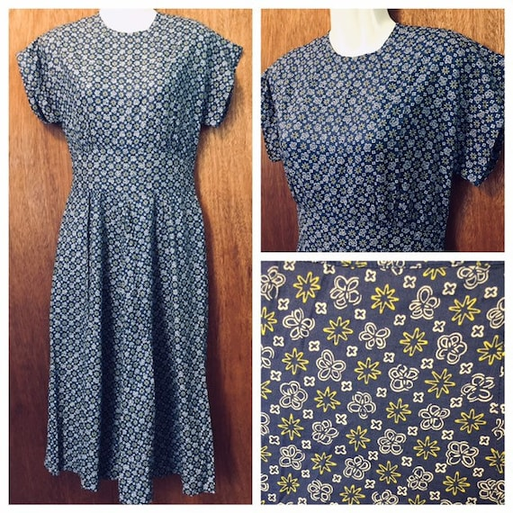 Vintage 40s Novelty Flowers and Stars Cotton Dress