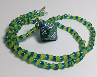 Green/Blue D10 necklace