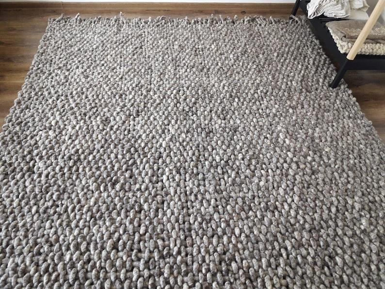 Wool Rug Woven Gray Area Rugs 8x10 Handwoven Rugs Scandinavian Etsy