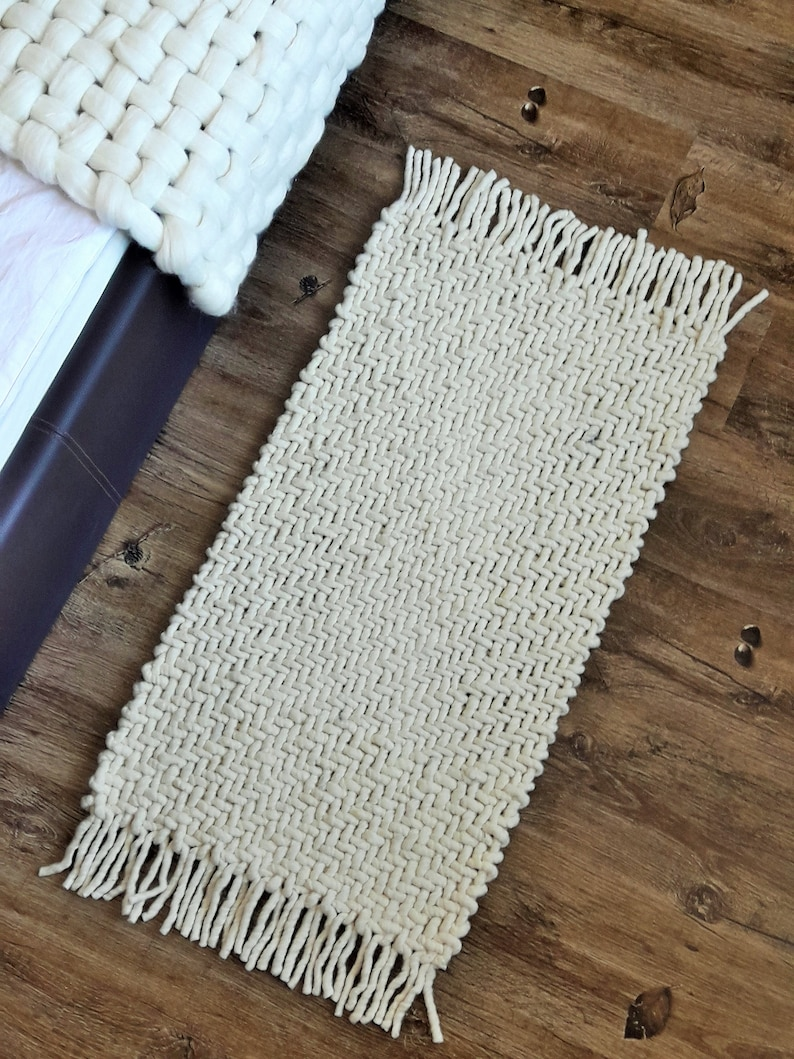 Wool Runner Rug Woven Rug Small White Rug Hallway Carpet Etsy