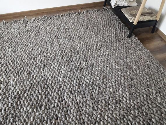 Wolle Teppich Gewebt Grau Bereich Teppiche 8 X 10 Handgewebte Etsy