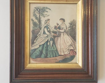 Antique Victorian Fashion Prints Framed Set of Two