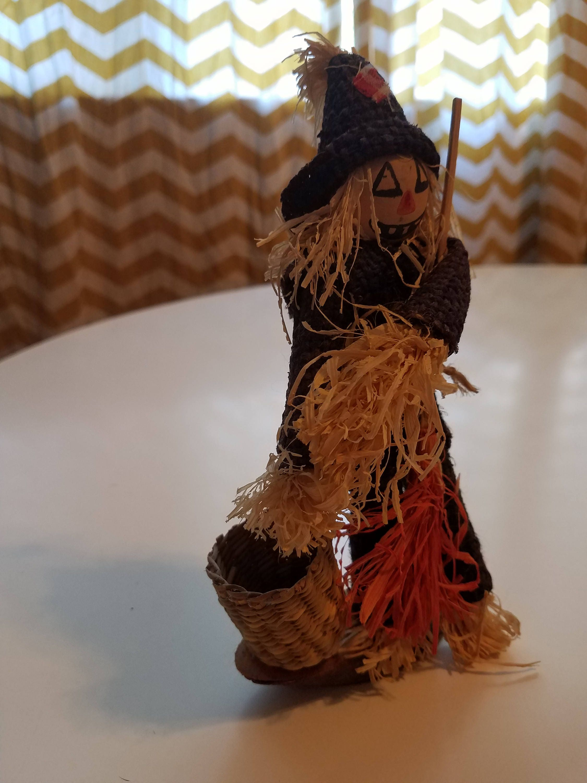 Vintage handmade harvest scarecrow Halloween art fall art