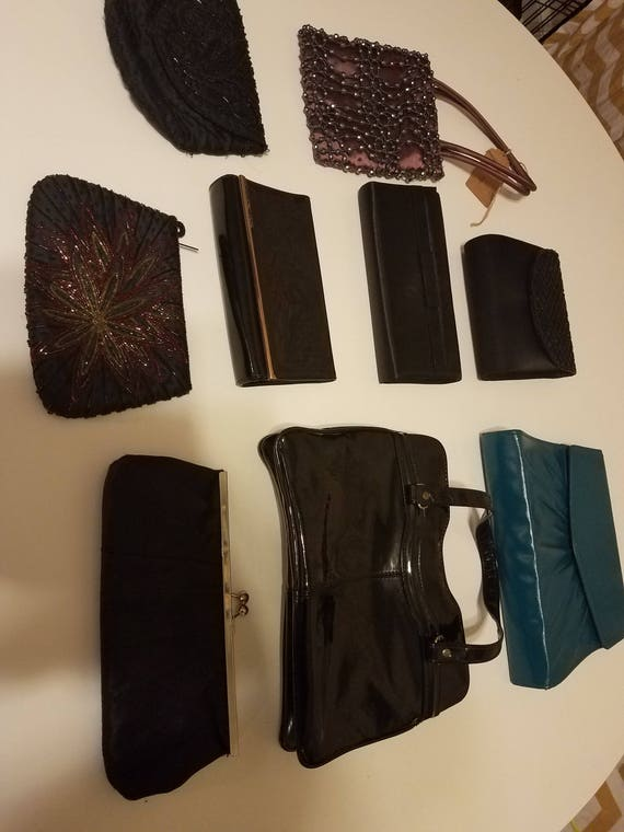 Purse and clutch lot of 9 vintage evening handbags