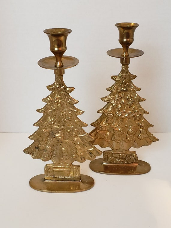 Vintage Brass Christmas Tree Candle Holder.Candlestick Holders Brass Christmas Tree Pair Candle Vintage Brass Candlesticks Holiday