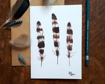 Pheasant feather greetings card, feather painting, fine art feather card, bird art, bird lovers card