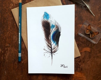 Blue feather greetings card, mallard feather painting, fine art feather card, bird art, duck card, bird lovers card