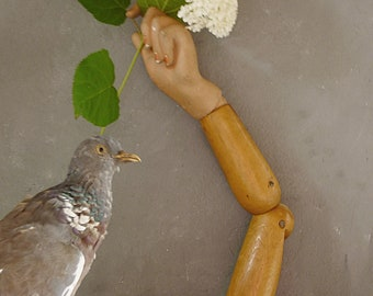 Curiosity.......antique mannequin arm, wooden arm, plaster hand, articulated store display, Art Deco....CHARMANT!